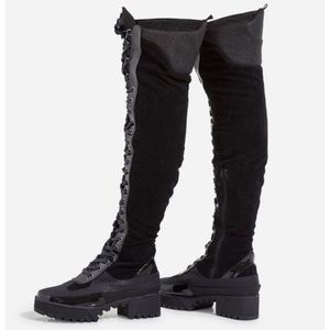 Thigh High Chunky Lace Up Boot